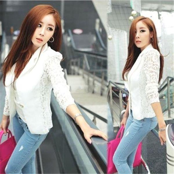 2018 White Sheer Floral Lace Patchwork Coat Suit Outwear Women OL Formal Slim Jacket Women Suits Harajuku Clothes Plus Size #408832