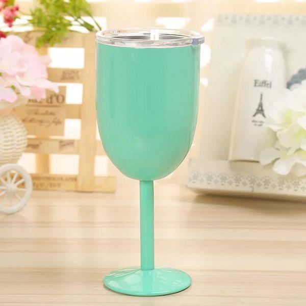 top popular 10oz Goblet Stem Wine Egg Tumbler Stainless Steel Wine Glasses Vacuum Insulated mug champagne Cup with Lid egg shape LJJA3315-4 2021