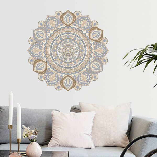 Colorful Mandala Flower Indian Bedroom Wall Decal Art Stickers Mural ...