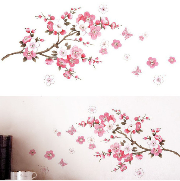 1PC Wedding Room Peach Blossom Flower Butterfly Hot Sale DIY Modern Wall Stickers Vinyl Art Decals Room Home Decoration