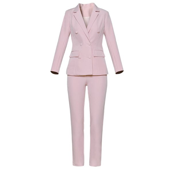 Custom casual solid color double-breasted ladies suit two-piece suit (jacket + pants) ladies solid color business formal wear
