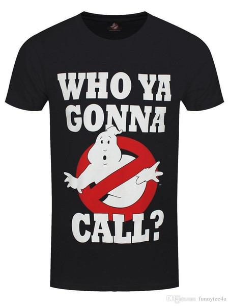 Охотники За Привидениями, Кому Ты Позвонишь? Мужская черная футболка Футболка мужская улица с коротким рукавом хлопок пользовательские XXXL фильм вентилятор футболки