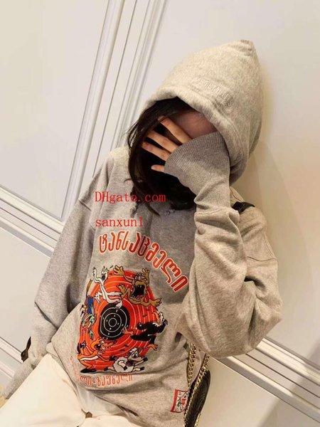 2019 marca felpa felpa con cappuccio in cotone ricamato cartone animato felpa felpe con cappuccio da donna top da donna pullover maglione abbigliamento da donna mm-1