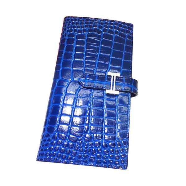 BK Stil Brieftasche Krokodil Geprägte Alligator Clutch Echtes Leder Lange Größe H Schnalle Brieftaschen Geldbörse Brieftasche Für Frauen