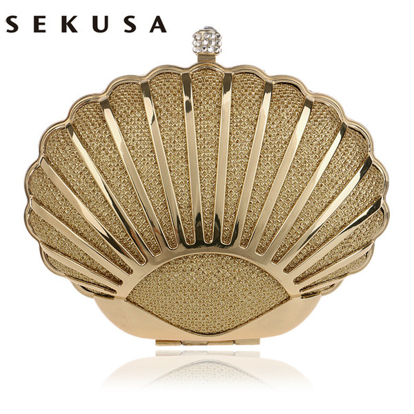 SEKUSA Fashion Hollow Out Style Women Evening Bag Shell Design Diamonds Mixed Candy Color Day Clutch With Chain Shoulder Purse CJ191209