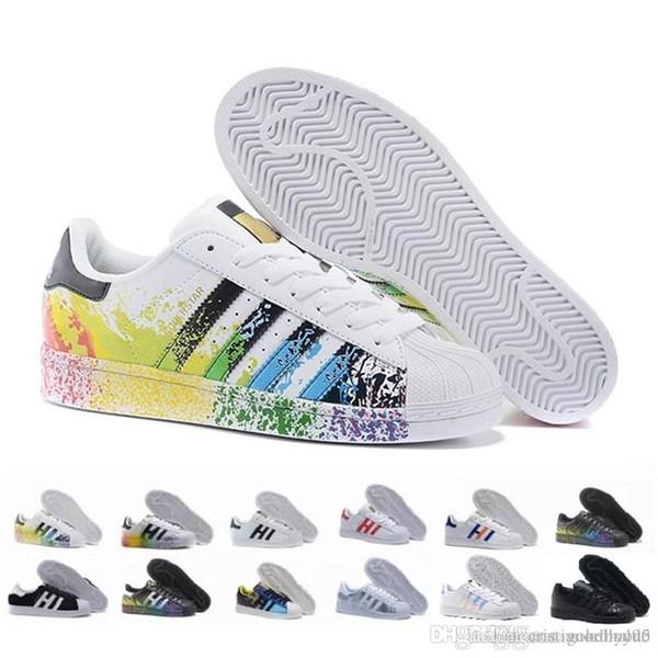 2019 Originals Superstar White Hologram Iridescent Gray Gold Superstars 80s Pride Sneakers Super Star Women Men Sport Casual Shoes .75
