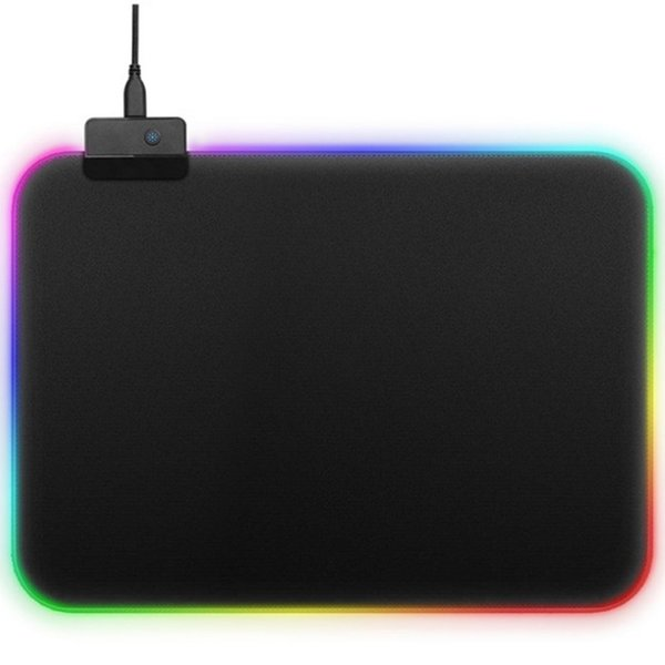 Cool Glowing Mouse Pad 350x250mm Non-skid Rubber Bottom LED Light Edge Mousepad For Laptop Computer Gaming