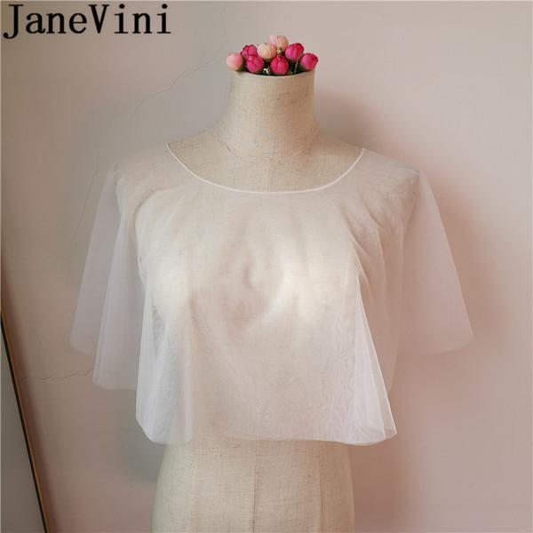 JaneVini Bruids Jas Simple Wedding Cape Brides Bolero White Sheer Soft Tulle Bridal Shoulder Wraps Shrug Mariage Evening Shawl