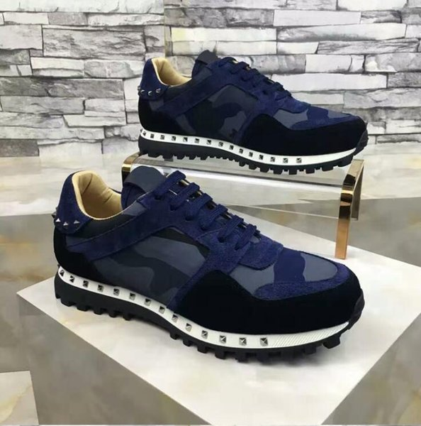 [Original Box] 2019 Luxury Designer Rock Stud Sneaker Shoes High Quality Women,Men Casual Shoes Rock Runner Trainer Party Wedding Shoes t02