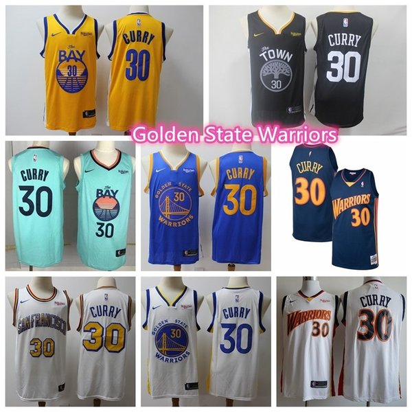 top popular Men's Steph Stephen 30 Curry warriorss jersey Golden State throwback DAngelo D'Angelo 0 Russell Klay 11 Thompson stitched basketball jerseys 2019