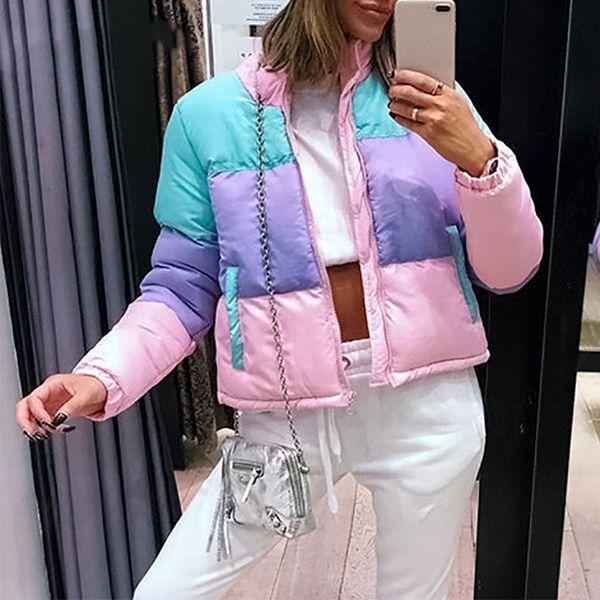 Casual Parka Color Stripe Jackets Tasche imbottite da donna Cappotti Autunno Inverno Cerniera maniche lunghe Capispalla
