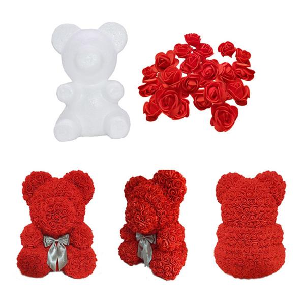 1Pcs Polystyrene Styrofoam White Foam Bear Mold Artificial Flower Head Rose Teddy Valentine's Day Gifts Party Wedding Decoration