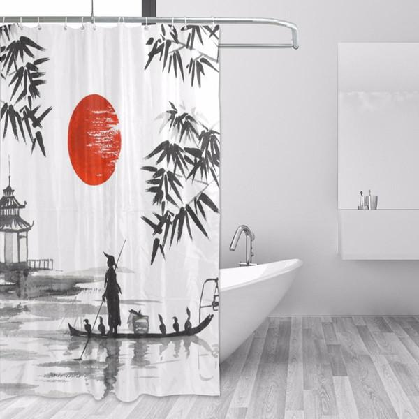 100% Polyester Stoff Duschvorhang Japanischen Malerei Mann Mit Boot Muster Druck Badezimmer Dekorative Dusche Bad Vorhänge