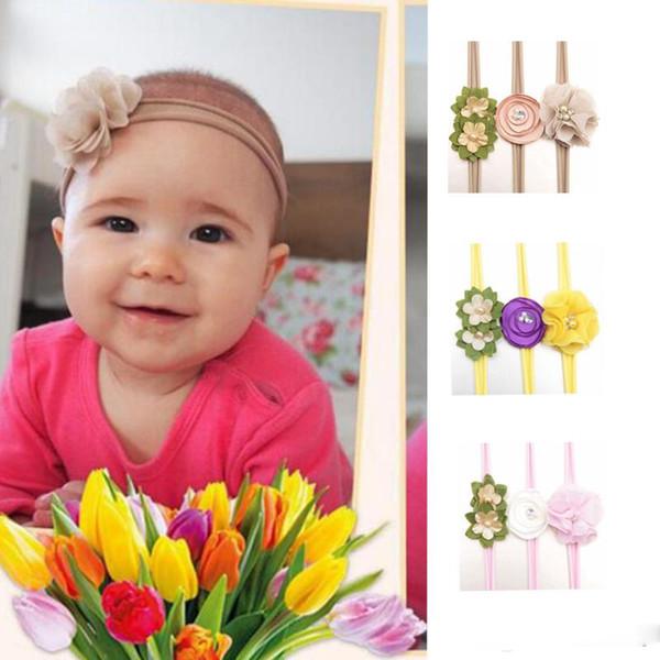 3pcs / lot Säuglingsstirnband Blumenperle hairband Blumen headwear Nylonhaarband gesetzte Haarzusätze für 8 verschiedene Farben