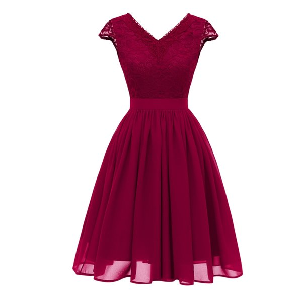 DREAM BRIDALS Lace robes de Cocktail Dress Chiffon A-Line V-Neckl Zipper V-Back Short Prom Party Dress Homecoming Dress robes de soiree