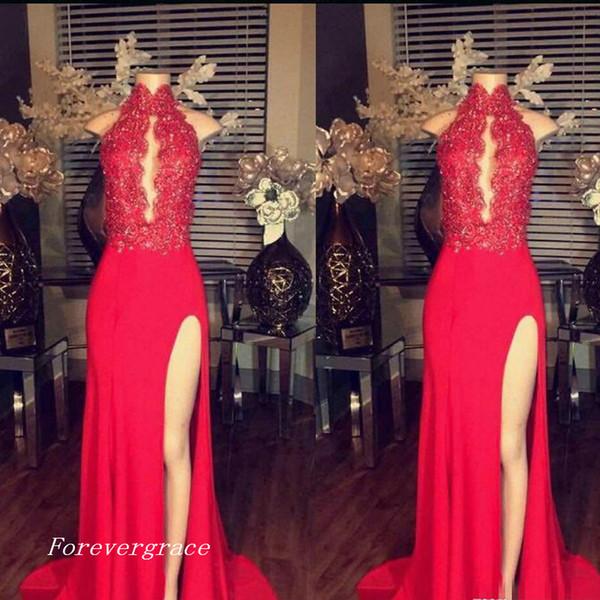 2019 Vintage Dantel Aplikler Seksi Kırmızı Balo Elbise Yüksek Boyun Yan Bölünmüş Pageant Parti Kıyafeti Custom Made Artı Boyutu