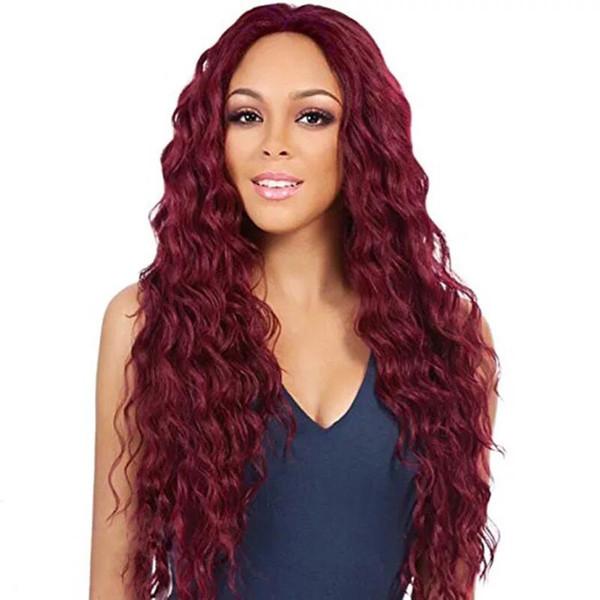 Europa y América Rojo Negro Color Mujer Chica Partido Natural Peluca Larga Completa Pelo Rizado Alta Calidad Moda Peluca Sintética Regalo envío gratis