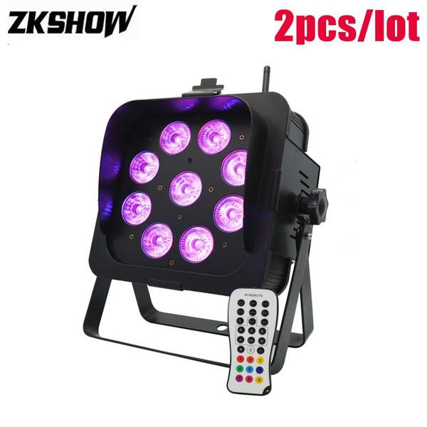 80% Off 9*15W 18W Battery Wireless LED Flat Par Light RGBWA+UV Luz DMX DJ Disco Party Stage Effect Lighting Projector Luces De Discoteca