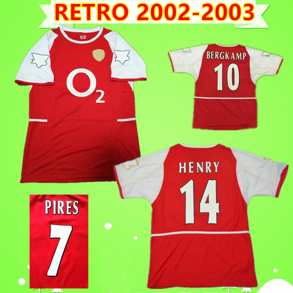 7 PIRES 10 BERGKAMP 14 HENRY 9 REYES 2002 2003 Jérsei de futebol clássico clássico comemorar antigo Colecção de camisa de futebol 02 03 GILBERTO COLE