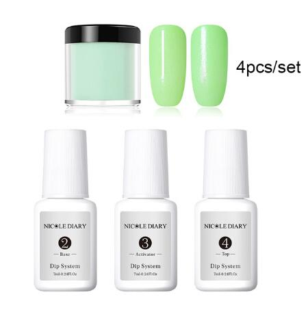 4Pcs/Set Dipping System Nail Kit Dip With Dip Base Activator Liquid Gel Nail Color Natural Dry Without Lamp Nail