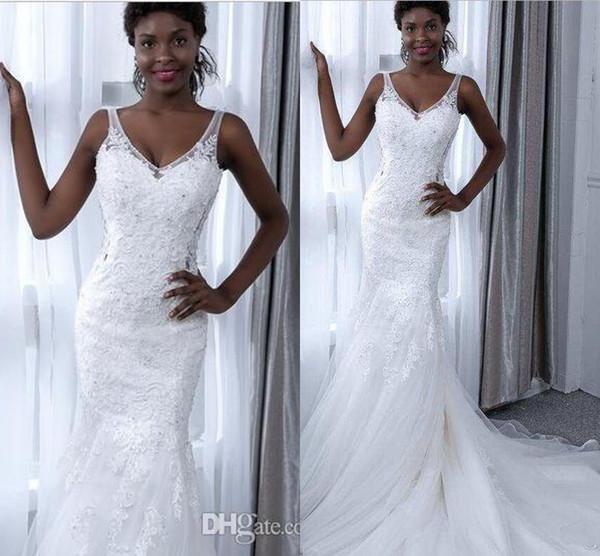 Nouvelle arrivée Afrique du Sud sirène robes de mariage V cou Applique dentelle Tulle froncé Traîne pas cher Robe de mariée Robes de mariée