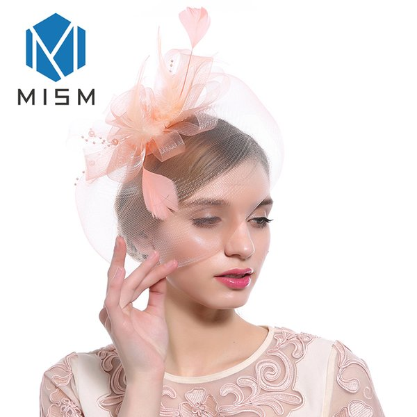 M MISM New Fascinator Hair Accessories Elegant Fashion Headwear Fancy Feather Beads Hair Pins Cocktail Party Clips forgirls