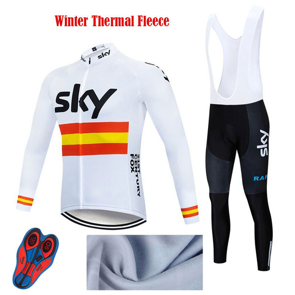 Pro Team Cycling Jersey Set Winter Thermal Fleece MTB Long Sleeve Maillot Ropa Ciclismo Italy Triathlon Men's Women's Bike Clothes Sky Team