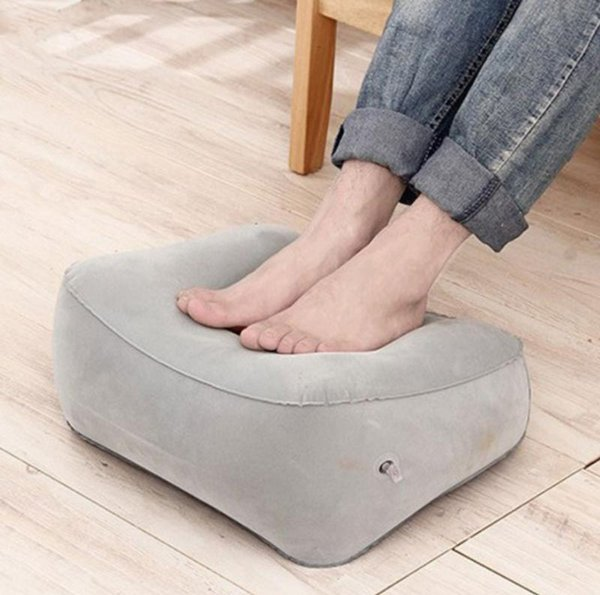 2018 Newest Hot Useful Inflatable Portable Travel Footrest Pillow Plane Train Kids Bed Foot Rest Pad PVC For Travel Massage Car