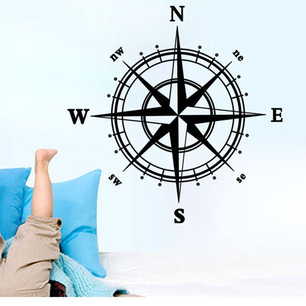 Wholesale Compass Wall Stickers Art Mural Wall Decal Living Room Bedroom Specialized Wallpaper Decoration Poster Home Decal Wall Decor Stickers For