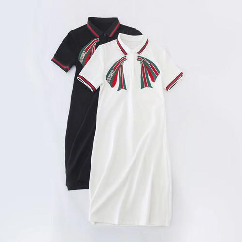 Medium and long POLO collar T-shirt A-shaped dress embroidered bow knot Short Sleeve Dress