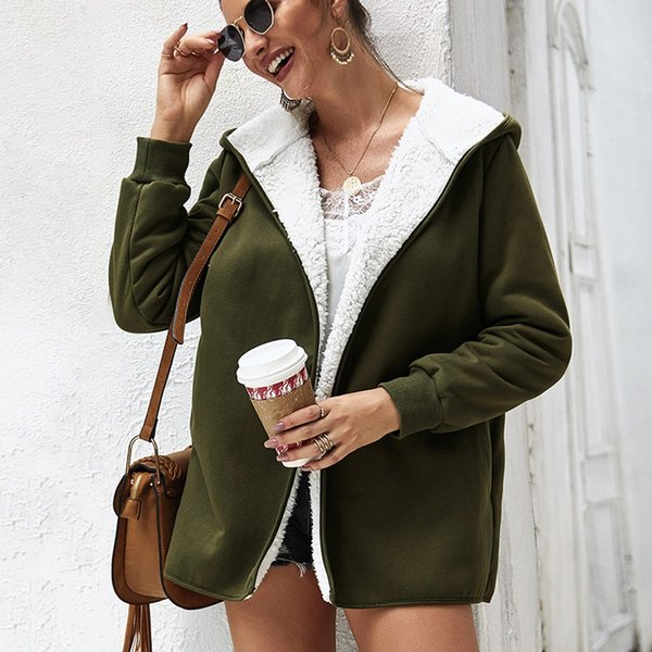 Fashion coat women Cardigan Villus Top Hoodie Long Sleeve Loose Coat Casual Knitted Hooded Thicken chamarras de mujer streetwear