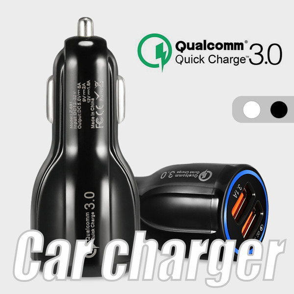 top popular 6A Fast Charger Car Charger 5V Dual USB Fast Charging Adapter for iPhone Samsung Huawei Metro phones without Packaging 2021