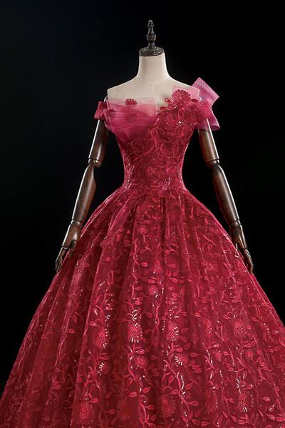 роскошные бордовый цветок винограда вышивки бальной старинной средневековых платьев Ренессанс принцесса фея костюм викторианское платье / Marie