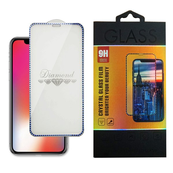 Plating Diamond Full Cover Tempered Glass For Iphone X XS MAX XR Screen Protector For Iphone 8 7 6 Plus With Retail Package