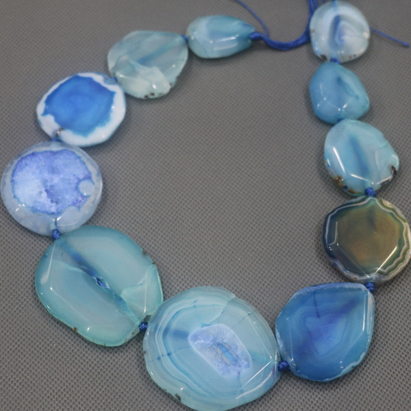 25-45mm Large Stone Slab Slice Beaded, Natural Blue Druzy Faceted Stone Beads Gems Stone Connector Pendant 15.5inch Full Strand