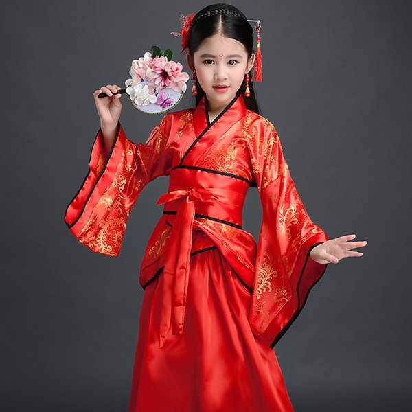 10 цветов для детей Традиционная китайская одежда для девочек Hanfu китайский платье Minority танец Детские костюмы принцессы платье