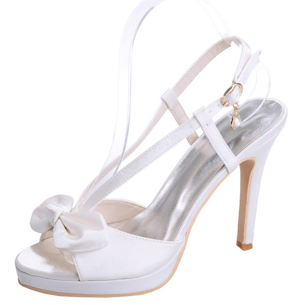 satin sandals platform sweet bow party prom cocktail summer dress shoes white ivory pink purple champagne blue