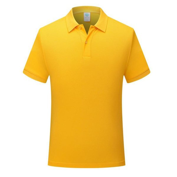 New classic solid color short-sleeved men and women with comfortable and breathable yellow Polo shirt uniform SD-7911-170