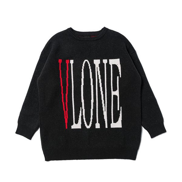 Vlone Mens Designer Maglioni donne degli uomini di alta qualità girocollo maniche lunghe maglione Mens casuale felpa nera di formato M-XL