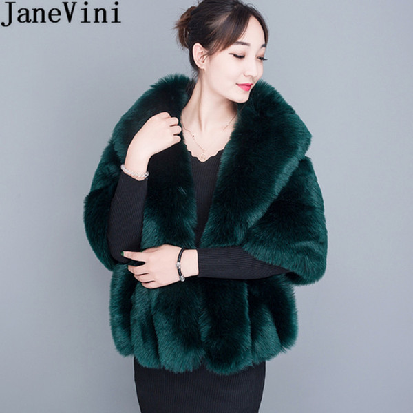wholesale Winter Faux Fur Bolero For Women Plus Size Dark Green Wedding Bridal Fur Shawl Cape White Formal Bolero Wraps