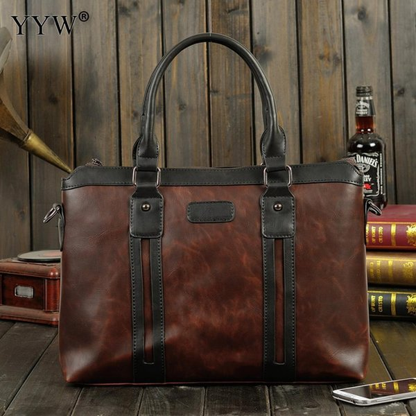 Business Mens Executive Briefcase Male Brown Portfolio Laptop Bags For Men Pop Black Pu Leather Handbag A Case For Documents