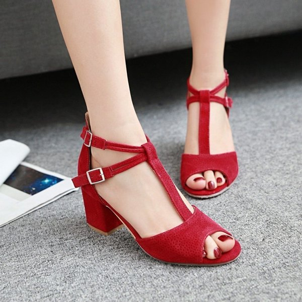 Sexy2019 Trip Bring T-shaped Velvet Fish Mouth Sandals Coarse With Occupation Shoe W131