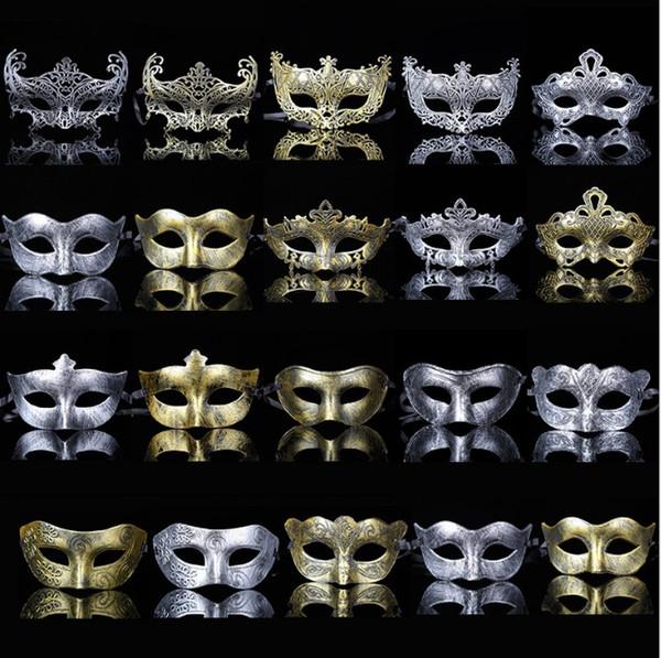 Men Adult Masquerade Mask Classic Retro Greek Roman Soldier Gladiator Mask Party Masquerade Ball Mardi Gras Facial Eye Mask Gold and Silve