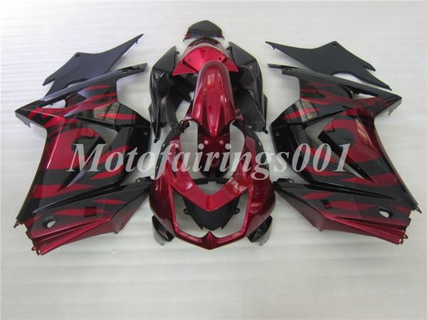 Качество OEM Новые комплекты обтекателей для впрыска ABS 100%, пригодные для Kawasaki Ninja 250R EX250 ZX250R 08 09 10 11 12 13 14 Кузов: темно-красный черный