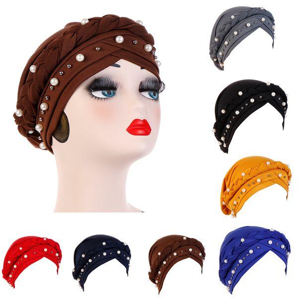 Muslimische Frauen Hijab Braid Cross seidige Baumwollperle Perle Turban Hüte Krebs Chemotherapie Chemo Beanies Cap Headwrap Headwear Haarschmuck
