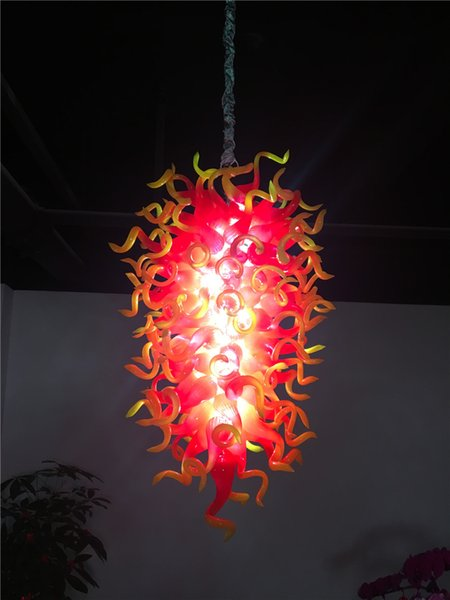 Hot Sale Home Pendant Lamps Red and Yellow Crystal Chandelier Modern Hand Blown Glass Chandelier LED Lights for New House Decoration