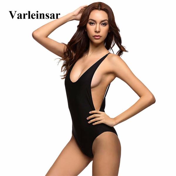 New Sexy Low Back Swim Suit For Women Swimwear One Piece Swimsuit Female Bather 2019 Bathing Suit Backless Monokini Lady V111