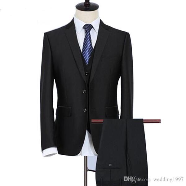 2019 Partido de negocios negro trajes de los hombres formales chaqueta de tres piezas Pantalones Chaleco muesca solapa dos botones de boda Novio Tuxedos