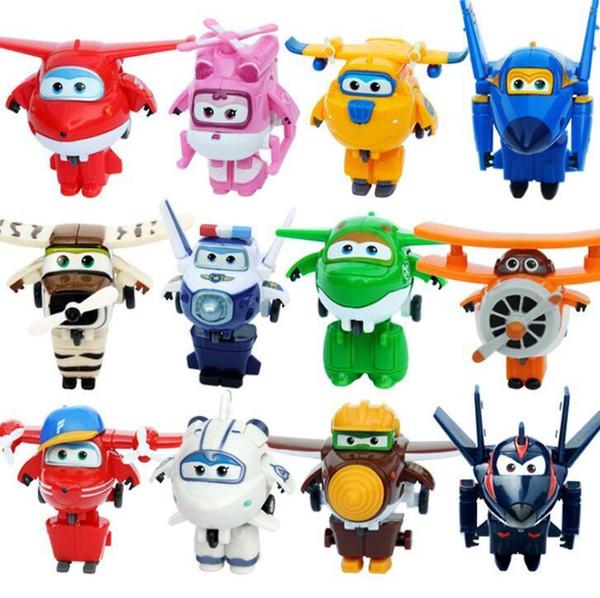 12 цветов Супер Крылья Мини самолет Abs Робот игрушки ФИГУРКИ Супер Wing Transformation Jet Анимация Дети Подарочные Brinquedos