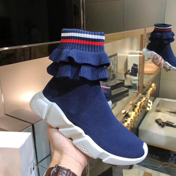 Sneakers Speed di lusso Fold Skirt Sneaker da uomo Sweethearts Coppia Sneakers Sock Boot Textile High High-Top Stretch Sneaker Knit Boots 15